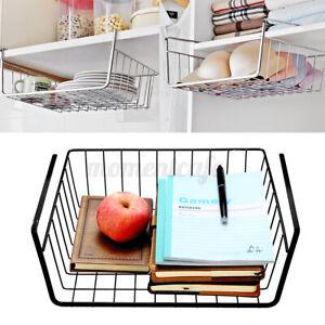 Under Table Storage Basket Rack Holder Kitchen Cabinet Hanging Book Shelf Tray