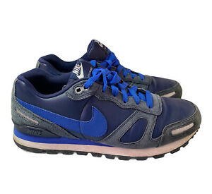 Nike Air Waffle Leather Suede Trainers Navy Blue 454395-442 Size UK 8 EUR 42.5