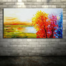 Hand Painted Oil Paintings On Canvas Modern Abstract Colorful Tree Oil Paintings