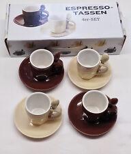 Espresso Tassen Set + Löffel - 4 Tassen + 4 Untertassen + 4 Löffel