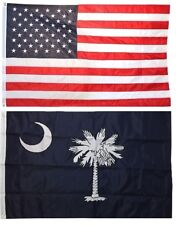 3x5 USA American Flag & State of South Carolina EMBROIDERED 210D Premium Set