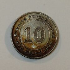 1926 Straits Settlements (Malaysia), Dime/10 Cents Silver Coin, Original