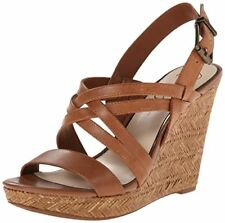 Jessica Simpson Julita Womens Size 6 Brown Open Toe Leather Wedges HEELS Shoes