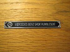Pocher 1/8 Mercedes Benz 540K Rumbleseat Metal Display Plaque