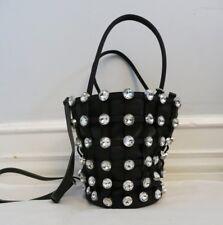 "ALEXANDER WANG black ""roxy"" bucket bag with studded crystals"