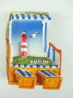 Amrum Magnet Strandkorb Leuchtturm Germany Premium Souvenir ,Polyresin,NEU