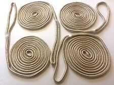 Dock Lines Gold&white-Set Of 4 Double Braided  25ft-1/2inch