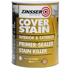 Sale Zinsser Cover Stain® Primer Sealer Stain Block Stop Killer Int/Exterior 5L