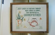 New listing Framed Cross-Stitch Sampler For Grandmother On Linen - Excellent Condition-Nice!