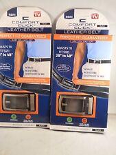 Comfort Click leather Belt Black,Track System No Holes, size 28' to 48' (2 pks)