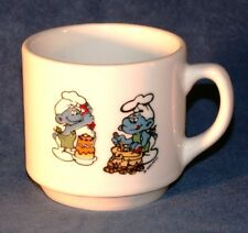 Vintage SMURF coffee MUG - PEYO 1985  Chef smurf Kitchen Cake Cokie