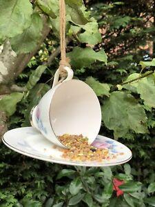Charming Vintage Teacup Bird Feeder