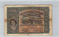 SVIZZERA 50 FRANCHI 1.1.1917 N° 3X050857 PICK 5c RARO