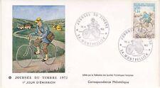 Enveloppe 1er jour FDC 1972 - Journée du timbre Facteur à Vélo