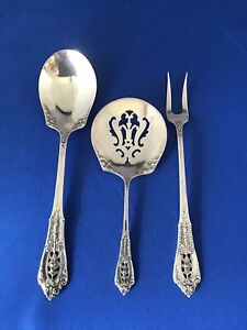 3 Wallace Rose Point Sterling Servers Bonbon Nut Pickle Fork Sugar Spoon