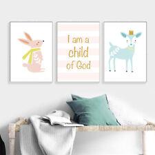 Cartoon Deer Rabbit Nursery Poster Wall Art Canvas Prints Baby Bedroom Decor