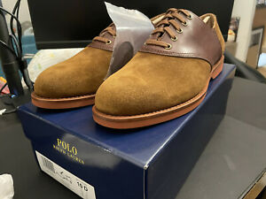 NEW POLO RALPH LAUREN Mens Orval Suede Oxford Lace Up Shoes Brown (MSRP $165)
