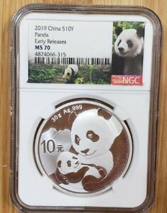 2019 China 10 Yuan Silver Panda NGC MS70 Early Releases - Panda Label