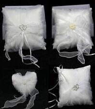 Wedding Ring Pillow Diamante Pearl Love Ivory/Pure White 18x18cm