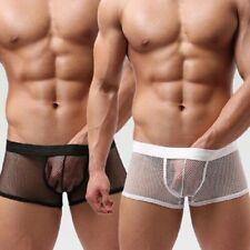 VARIOUS Men's Sexy Transparent Fishnet Boxer Shorts Top Lycra Underwear Lingerie