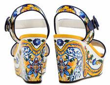 Dolce Gabbana Majolica Print Wedges Pumps Shoes Sandals Mule Sandal Shoes 37