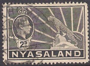 Nyasaland 1938 - 44 KGV1 2d Grey used SG 133 ( L1477 )