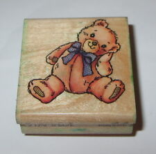Teddy Bear Rubber Stamp Beary Stampede Bow Head on Paw Wood Mounted