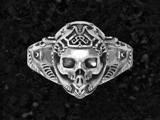 Gothic Skull Men's Biker Engagement Ring Oxidized 925 Sterling Silver