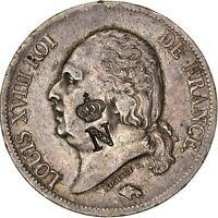 Louis XVIII 5 Francs 1818 Rouen Contremarque Napoléonienne rarissime inédit