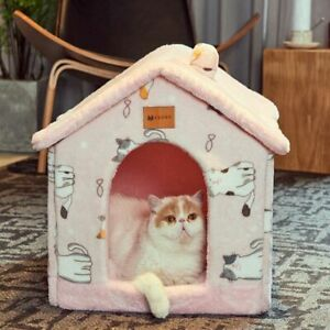 Portable Dog Pet House Bed Winter Warm Cat Puppy Kennel Cave Doggy Cushion