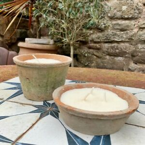 Citronella Garden Candles In Rustic Terracotta Pot, Outdoor Scented, 4 Sizes