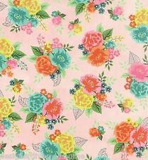 Moda Basic Grey Fresh Cut pink Floral Bouquet quilting fabric