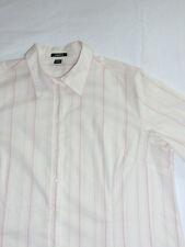 Damen Bluse, Gr. 50, feine Streifen, weiß rosa, pflegeleicht, Langarm, Stretch