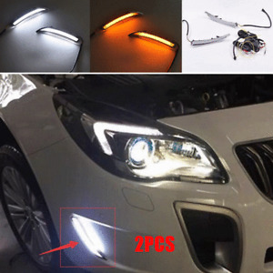 Pair LED Front Bumper Turn Signal Fog Light DRL Lamp For Buick Regal GS 2008-17