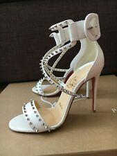 New Christian Louboutin Choca Spikes 100 High White Leather Women's Sandals Heel