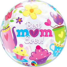 """MOTHER'S DAY PARTY SUPPLIES 22"""" BEST MUM EVER! SEE THRU BUBBLE QUALATEX BALLOON"""