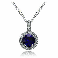Sterling Silver Created Sapphire and White Topaz Halo Necklace