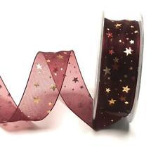 5124 1m//0,45 € bucles banda 20m x 40mm burdeos-oro estrellas dekoband