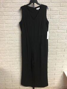 Calvin Klein womens jumpsuit pants top stretch black sz 14W NEW $138 #O138