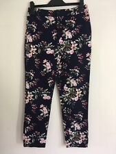 Ladies Navy Blue Pink & Green Floral Trousers Size 8 By New Look