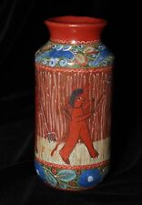 Fun Red Devils with Pitchforks Small Vase, Hand Painted Tonala Mexico Folk Art