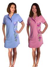 Damen Kurzarm Nachthemd 2 Stück = 1 Preis (DF614cd) Gr.: 48-50 Baumwolle Jersey