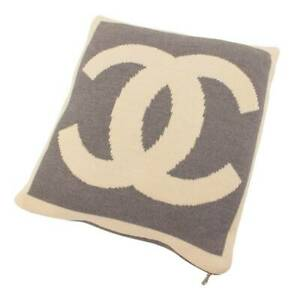 Authentic Chanel Wool Cashmere Coco Mark Double Face Cushion Ivory Gray Used