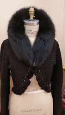 ^ Broadtail Shrug Bolero Evening Jkt Fox Fur & Swarovski sz S / 6 $1725 Каракуль