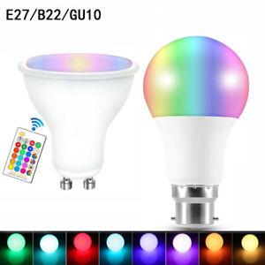 B22 E27 GU10 RGB RGBW LED Lamp Colour Changing Light Bulb W/ IR Remote Control