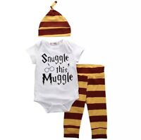 Snuggle This Muggle Infant Outfit Bodysuit Pants Hat Set Unisex Outfit Set 3pc