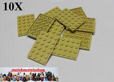 4x Lego 3032 Platte 4x6 tan beige gebraucht 4114001
