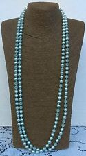 Vintage Lot Of 2 Faux Pearl Green & White Necklaces 1980's