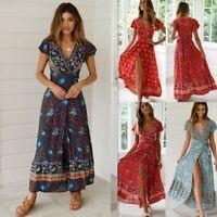 Women's Wrap Boho Floral Paisley Maxi Dress Ladies Summer Holiday Beach Sundress