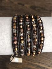 New Auth Chan Luu Pietersite Mix Five Wrap Bracelet on Brown Leather